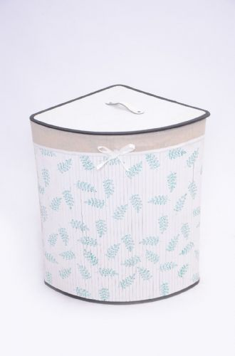 WHITE & GREEN LEAF BAMBOO LAUNDRY BASKET WASHING CLOTHES FOLD AWAY STORAGE BIN - CORNER
